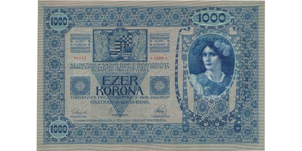 Rakousko - Uhersko, 1000 Koruna 1902, šedozelený podtisk, Baj.RU11a