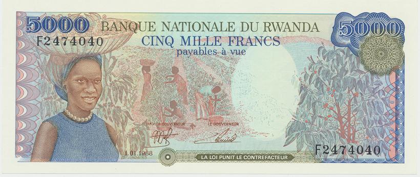 Rwanda, 5000 Francs 1988, P.22