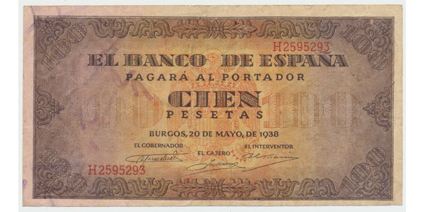 Španělsko, 100 Pesetas 1938, Burgos, P.113