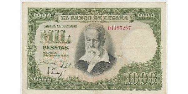 Španělsko, 1000 Pesetas 1951, P.143