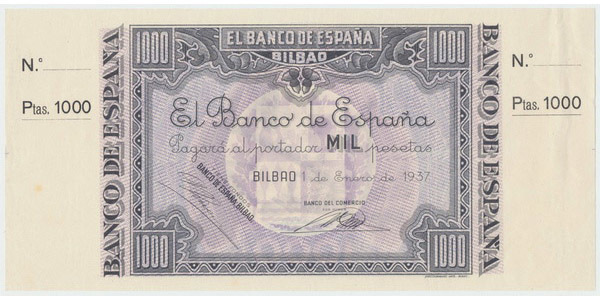 Španělsko, 1000 Pesetas 1937, Bilbao P.S567