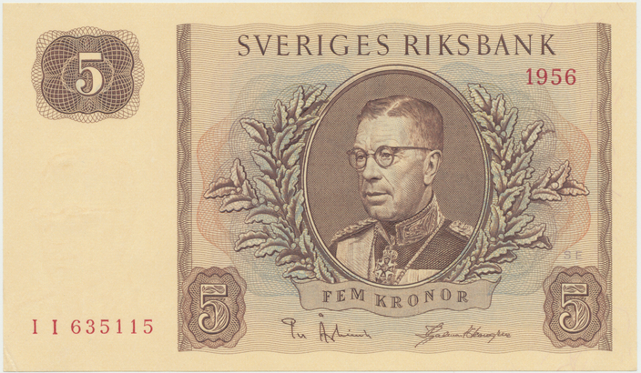 Švédsko, 5 Kronor 1956, P.42c