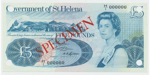 Svatá Helena, 5 Pounds b.d. (1976), P.7s, anulát, přetisk SPECIMEN