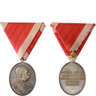 Jubilejní dvorní medaile, stříbrná medaile na vojenské stuze