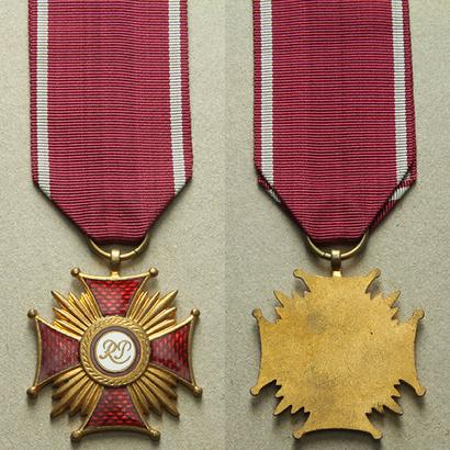 Zlatý kříž za zásluhy RP, 1945 - 1952, bronz zlacená, WB.112-A