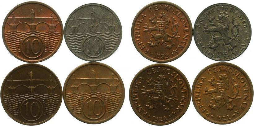 10 Haléř - 2 x 1922,1933,1942, celkem 4 ks