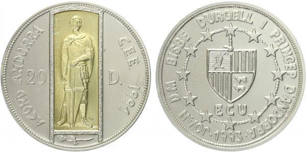 20 Dinár 1991 - Svatý Jiří, Ag 0,925, 38mm (24 g), Au 0,917 (1,5 g), běžná kvalita pa