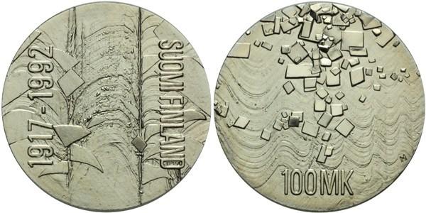 100 Markkaa 1992 - 75. výročí nezávislosti, Ag 0,925, 35 mm (24,0 g)