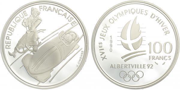 Francie, 100 Frank 1990 - OH Albertville 1992, Ag 0,900, 37 mm (22,2 g)