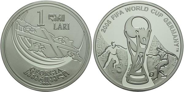 1 Lari 2004 - FIFA 2006, Ag 0,925, 38 mm (28,40 g)