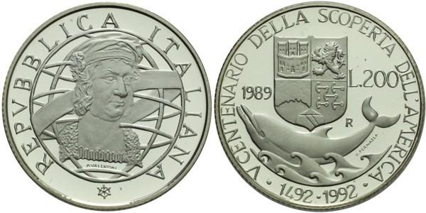 200 Lira 1992 - 500. výročí objevení Ameriky, Ag 0,825, 24 mm (4,9 g), PROOF
