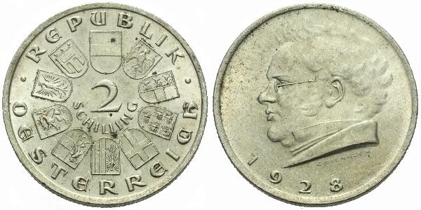 Rakousko, 2 Schilling 1928 - 100. výročí úmrtí Franze Schuberta