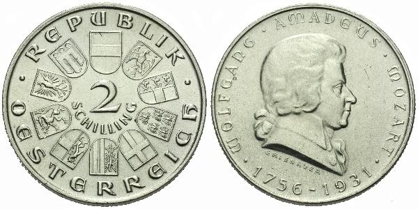 Rakousko, 2 Schilling 1931 - 175. výročí narození Wolfganga A. Mozarta