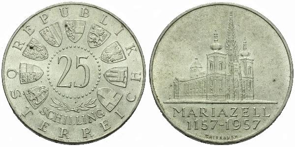 Rakousko, 25 Schilling 1957 - 800 let baziliky v Marianzell