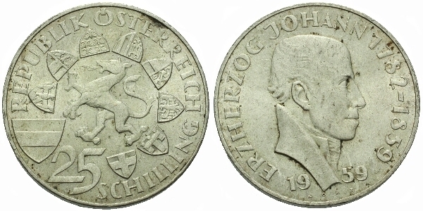 Rakousko, 25 Schilling 1959 - 100 . výročí úmrtí arcivévody Johanna