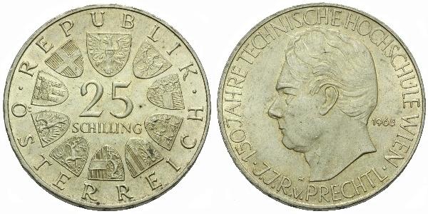 Rakousko, 25 Schilling 1965 - 100. výročí Technické školy ve Vídni
