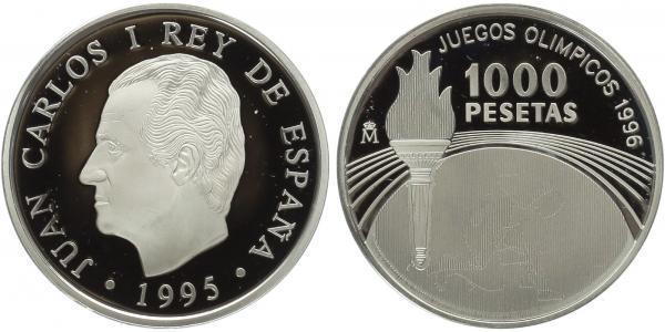 1000 Peseta 1996 - Paraolympiáda - Sprint, dřevená etue s certifikátem a papírový pře