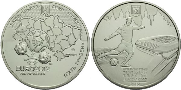 5 Griven 2011 - Mistrovství Evropy ve fotbale EURO 2012 - Lvov, Cu-Ni 35 mm, PROOF