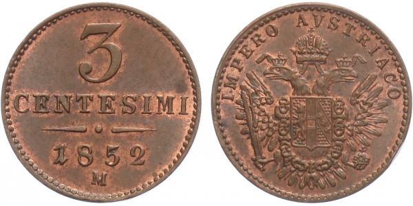 3 Centisimo 1952 M - Milán