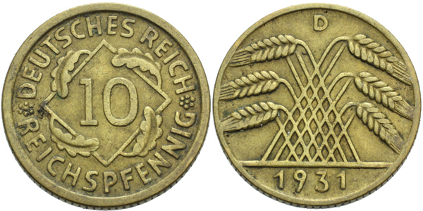 10 Reichspfennig 1931 D