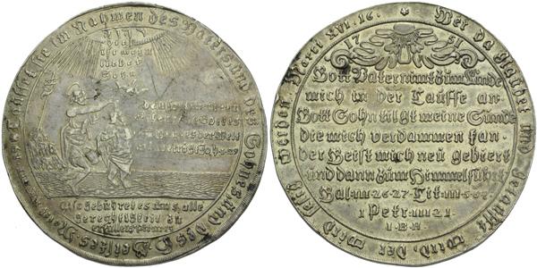 AR Křestní medaile 1751 - Křest Krista v Jordánu / 9-řádkový text. Ag 50 mm (28,80 g)