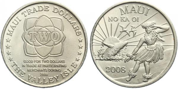"""2 Dollar 2008 - """"Maui trade token"""", CuNi, certifikát, 115.000 ks"""