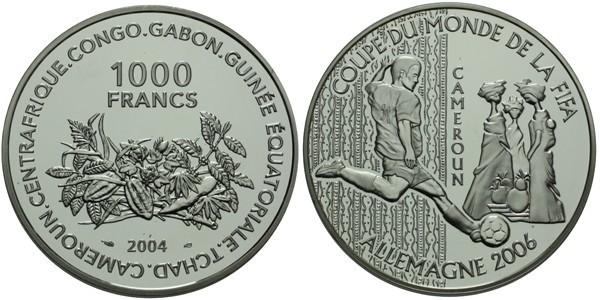 1000 Frank 2004 - FIFA 2006, Ag 0,925, 38 mm (22,25 g)