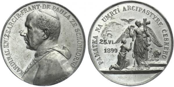 AE Medaile 1899 (Pichl) - Úmrtní. Poprsí zleva, opis / Anděl s křížem, před ním kleč