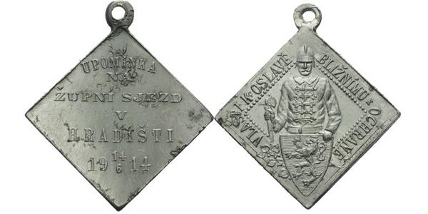 AE Medaile 1914 - Upomínka na župní sjezd. 6-řádkový nápis, datum / Poprsí hasiče se