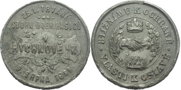 AE Medaile 1896 (Šmakal) - 25-leté trvání sboru dobrovolných hasičů. 4-řádkový nápis