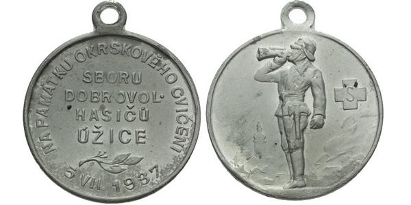 AE Medaile 1937 - Na památku okrskového cvičení sboru dobrovolných hasičů. 4-řádkový