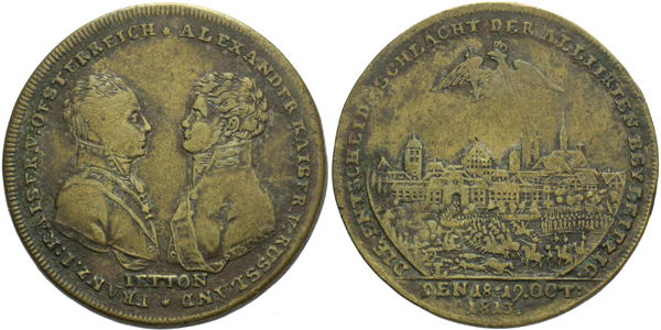 AE Medaile 1813 - Pamětní žeton na bitvu u Lipska, Br 34 mm