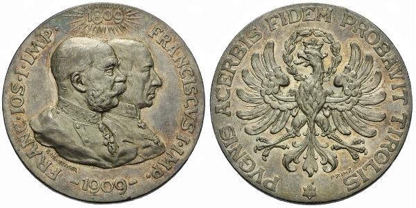 AR Medaile 1909 (R. Neuberger) - 100. výročí Tyrolského povstání, Ag 45 mm (40 g), ne