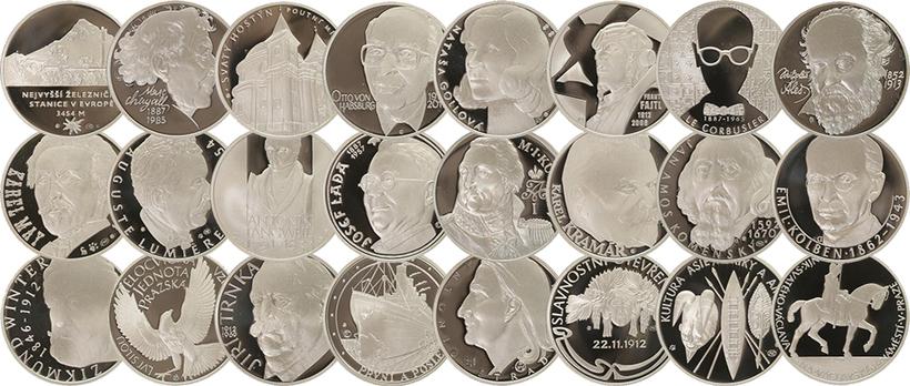 AR Medaile b.l. - Kalendárium 2012, Sada 24 stříbrných pamětních medailonů