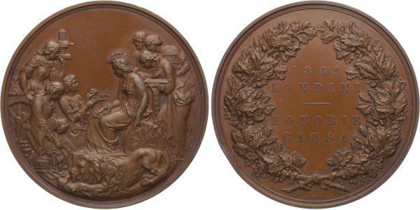 AE Medaile 1862 - Záslužná medaile Průmyslové výstavy v Londýně, udělená na hraně - S