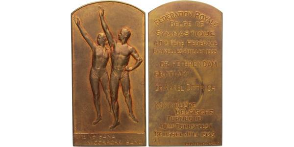 AE Plaketa 1935 - 40. výročí gymnastické federace, udelená na jméno Dr. Karel Dittric