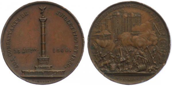 AE Medaile 1840 - Na postavení pomníku na Náměstí Bastilly, 26 mm (10,21 g), mnoho hr