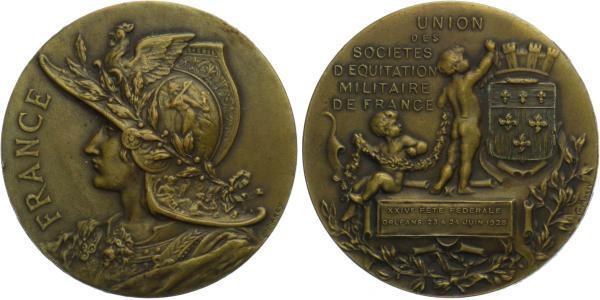 AE Medaile 1928 (Marey) - Vojenská unie, Orleans 23 - 24 Juin 1928, Br 50 mm (63,1 g)