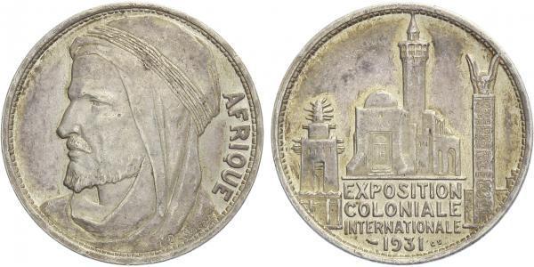 AE Medaile 1931 (L. Desvignes) - Mezinárodní koloniální výstava, Cu postříbřená, 32 m