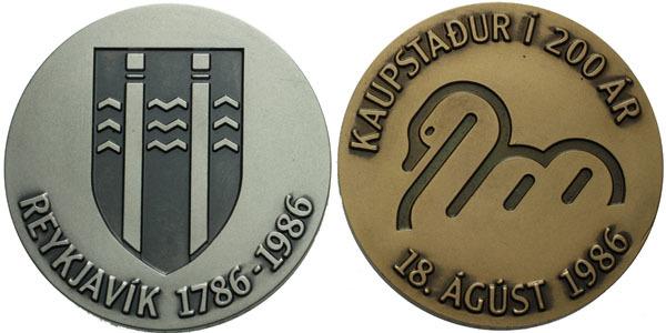 AR a AE Medaile 1986 - založení Reykjavíku 1786 - 1986, etue a certifikát, Ag 0,925,