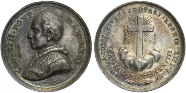 AR Medaile (Bianchi) 1888 - Leo XIII, 30,5 mm (9,62 g), krásná patina