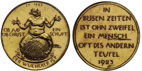 AE Medaile 1923 - Satirická medaile, Br 38 mm