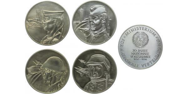 AE Sada 4 Medailí - Ministerstvo obrany - 20 let národní armády 1956 - 1976, orgináln