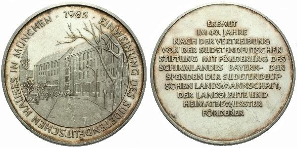 AR Medaile 1985 - Sudetoněmecký dům v Mnichově, Ag 1000, 40 mm (24,6 g)