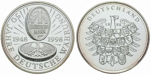 AR Medaile 1998 - 50 let Německé měny, Ag (bez označení ryzosti), 30 mm (10 g), PROOF