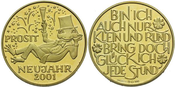 AR Medaile 2001 - Novoroční medaile, zlacené Ag 0,900 (5,01 g), PROOF
