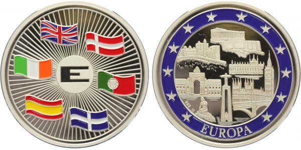 AR Medaile b.l. - 6 členů rozšíření Evropské Unie z původních 6 členů na 12,  Ag 0,99