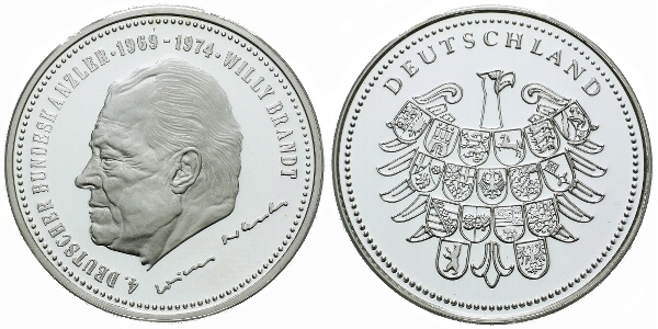 AR Medaile b.l. - Willy Brandt, Ag (bez označení ryzosti), 30 mm (10 g), PROOF