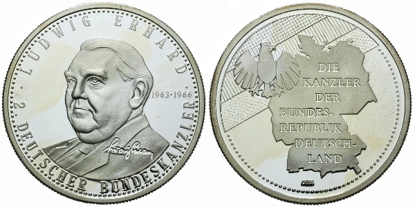 AR Medaile b.l. - Ludwig Erhard, Ag 0,999, 40 mm (20 g), PROOF