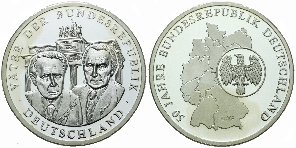 AR Medaile b.l. - 50. výročí SRN, Ag 0,999, 40 mm (19,4 g), PROOF